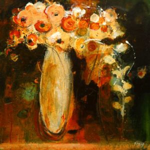 "SOLD ""Flowers from the Show,"" by Susan Flaig 16 x 16 – acrylic with graphite $600 (thick canvas wrap without frame)"