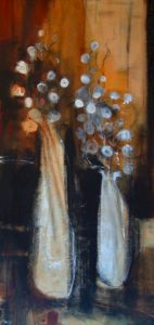 "SOLD ""Flowers Within Walls,"" by Susan Flaig 30 x 60 – acrylic with graphite $2150 Unframed"