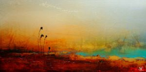 "SOLD ""Follow,"" by Laura Harris 24 x 48 – acrylic/mixed media $2720 (thick canvas wrap without frame)"