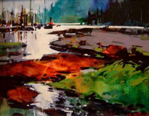 """SOLD """"Ford's Cove,"""" by Michael O'Toole 8 x 10 – acrylic $495 Framed"""