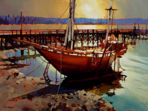 "SOLD ""Ford's Cove, Hornby – Revisited,"" by Michael O'Toole 30 x 40 – acrylic $3700 Unframed"
