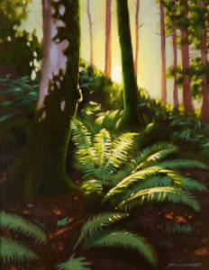 "SOLD ""Forest Glow,"" by Ray Ward 9 x 12 – oil $775 Framed"