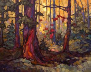 "SOLD ""Forest Light,"" by Phil Buytendorp 16 x 20 – oil $1310 Framed"