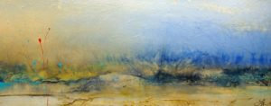 "SOLD ""For the Quiet and Adventurous,"" by Laura Harris 24 x 60 – acrylic $3740 (thick canvas wrap without frame)"