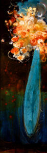 "SOLD ""Fortune's Twist,"" by Susan Flaig 12 x 36 – acrylic/mixed media $1100 Framed"
