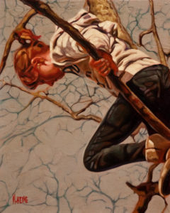 "SOLD ""Free Climb,"" by Mark Heine 8 x 10 - oil $440 Unframed $615 in show frame"