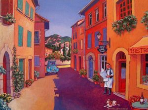 "SOLD ""French Bistro,"" by Michael Stockdale 12 x 16 – acrylic $670 Framed"