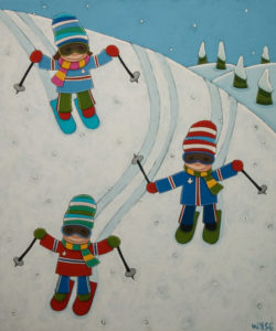 """SOLD """"The French Fry Race,"""" by Peter Wyse 20 x 24 – acrylic $1470 (unframed panel  with 1 1/2"""" edging)"""