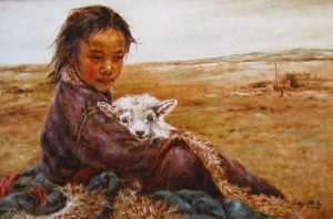 "SOLD ""Friends,"" by Donna Zhang 24 x 36 – oil $6135 Framed"