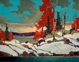 "SOLD ""From Sultana Island, Lake of the Woods,"" by Robert Genn 11 x 14 – acrylic $2600 Unframed"