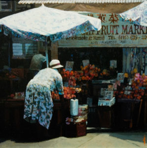 "SOLD ""Fruit Market,"" by Alan Wylie 14 x 14 – acrylic $2650 Framed"