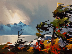 "SOLD ""Gaining Storm, Howe Sound,"" by Michael O'Toole 9 x 12 – acrylic $660 Unframed"