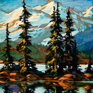 "SOLD ""Garibaldi Etude,"" by David Langevin 8 x 8 - acrylic $560 in artist's frame"