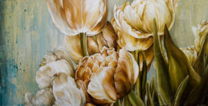 "SOLD ""Gathered Moments,"" by Linda Thompson 24 x 48 – acrylic $2800 (thick canvas wrap without frame)"