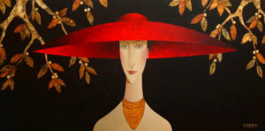 "SOLD ""Genevieve's Red Hat,"" by Danny McBride 24 x 48 – acrylic $3750 Unframed"