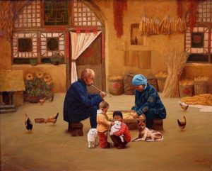 "SOLD ""A Gentle Touch,"" by Dongmin Lai 24 x 30 –  oil $7200 Framed"