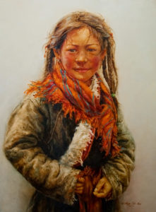 "SOLD ""Girl in Ahli,"" by Donna Zhang 30 x 40 – oil $7050 Custom framed $6600 with standard frame"