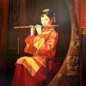 "SOLD ""Girl in Red,"" by Dongmin Lai 30 x 30 –  oil $8000 Framed"