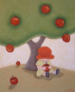 "SOLD ""Girl with Apple,"" by Peter Wyse 10 x 12 – acrylic $425 (unframed panel  with 1 1/2"" wide edging)"