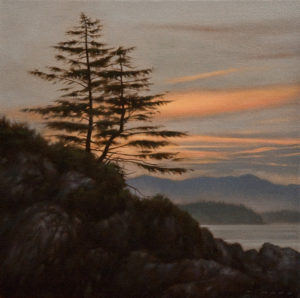 "SOLD ""The Gloaming Hour, Clayoquot,"" by Ray Ward 12 x 12 – oil $870 Unframed"