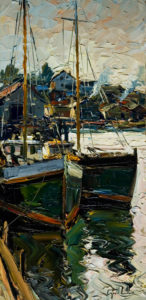 "SOLD ""Gloucester Harbour,"" by Raynald Leclerc 12 x 24 – oil $1350 Unframed"
