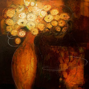 "SOLD ""Glowing,"" by Susan Flaig 24 x 24 – acrylic with graphite $1000 Unframed"