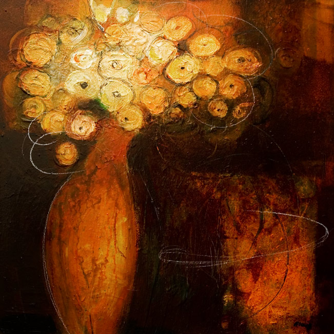 SOLD ``Glowing,`` by Susan Flaig 24 x 24 - acrylic with graphite $1000 Unframed