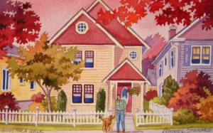 """SOLD """"Going for a Walk,"""" by Michael Stockdale 5 x 8 – watercolour $230 Unframed"""