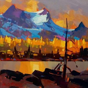 "SOLD ""Gold at Yoho II,"" by Michael O'Toole 12 x 12 – acrylic $720 Unframed"