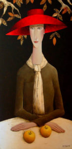 "SOLD ""Golden Apples and Linen,"" by Danny McBride 24 x 48 – acrylic $3750 Unframed"