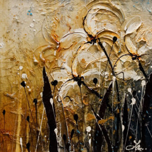 """SOLD """"Golden Dew,"""" by Laura Harris 12 x 12 – acrylic $1010 (thick canvas wrap without frame)"""