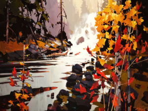 "SOLD ""Golden Falls,"" by Michael O'Toole 30 x 40 – acrylic $4100 Unframed"