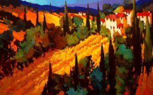 "SOLD ""Golden Fields of Tuscany,"" by Michael O'Toole 30 x 48 – acrylic $3925 Framed"