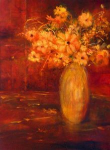 "SOLD ""Golden Flowers from Naramata Market,"" by Susan Flaig 18 x 24 – acrylic with graphite $840 Unframed"