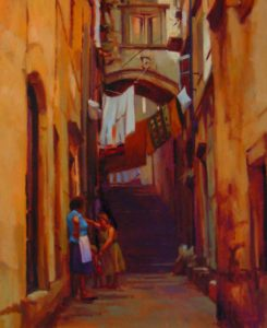 """SOLD """"Got to Go,"""" by Mike Svob 30 x 36 – oil $4770 Framed"""