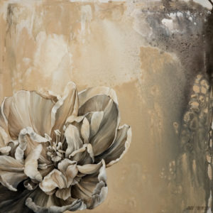 "SOLD ""Graphite Neutrals A,"" by Linda Thompson 20 x 20 – acrylic $960 (thick canvas wrap without frame)"