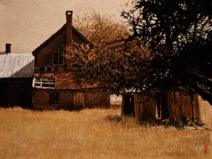 "SOLD ""Gray's Farmhouse,"" by Alan Wylie On-location study 12 x 16 – acrylic $2110 Unframed $2340 Custom framed"