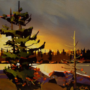 "SOLD ""Green Lake,"" by Michael O'Toole 12 x 12 – acrylic $895 Framed"