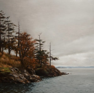 "SOLD ""Grey Morning, Finn Point,"" by Ray Ward 14 x 14 – oil $1060 Unframed"