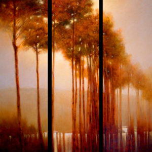 "SOLD ""Grove Under Oxide Light,"" by Renato Muccillo triptych – each panel 12 x 36 – oil"