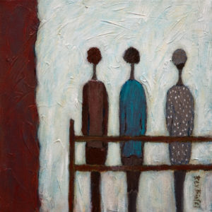 "SOLD ""Guess Who I Saw Today,"" by Bev Binfet 10 x 10 - mixed media $395 Unframed $490 in show frame"