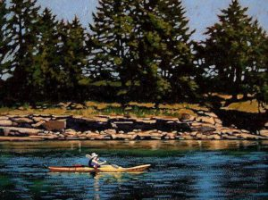 "SOLD ""Gulf Island Kayaker,"" by Ray Ward 9 x 12 – oil $695 Framed"