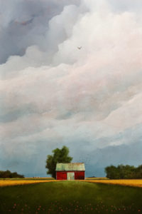"SOLD ""Hawk Over the Drive Shed,"" by Mark Fletcher 20 x 30 – acrylic $2090 Unframed"