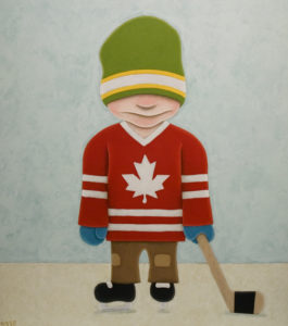 "SOLD ""Hand-Me-Down Hockey,"" by Peter Wyse 36 x 40 – acrylic $2675 (unframed panel  with 1 1/2"" wide edging)"
