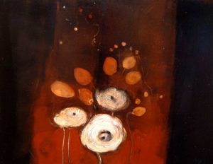 "SOLD ""Happily Chasing Fireflies,"" by Susan Flaig 14 x 18 – acrylic/mixed media $590 Unframed"