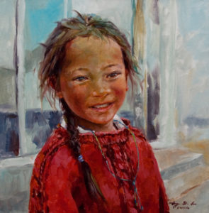 "SOLD ""Happy at Home,"" by Donna Zhang 16 x 16 – oil"