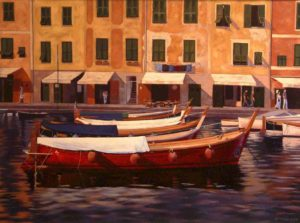 "SOLD ""Harbour Hues,"" by Ray Ward 30 x 40 – oil $2925 Framed"