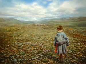 "SOLD ""Heading Home,"" by Donna Zhang 36 x 48 – oil"