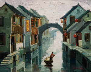 "SOLD ""Heading Home, Suzhou,"" by Dongmin Lai 8 x 10 – oil $800 Framed"