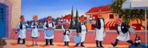 "SOLD ""Head Waiter Inspecting the Troops,"" by Michael Stockdale 12 x 36 – acrylic $1035 Framed"